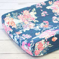 Caden Lane | Changing Pad Cover | Charleigh's Coral & Navy Floral Crib Bedding