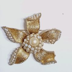 Ciner Pin Brooch Brushed Gold Tone Flower With Faux Pearls 2 x 2.25 Inch Vintage #Ciner