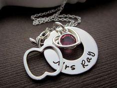 Teacher Jewelry Apple Necklace, Personalized Teacher Gifts, LOVE Teacher Appreciation Jewelry, hand stamped Name & Birthstone