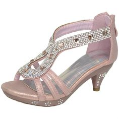 Kids High Heel Dress Sandals Teardrop Embellished Glitter Rhinestone Dress Shoes Pink Girls Dress Sandals, Pink Dress Shoes, High Heels For Kids, Glitter Dress, Little Princess, Kitten Heels, Girly, Rhinestone Dress, Awesome