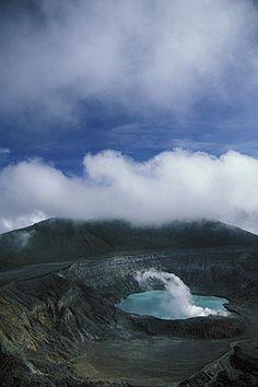 Costa Rica, Poas Volcano, Crater and steam