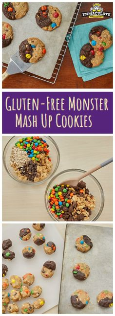 Gluten-Free Monster Mash-Up Cookies Double Chocolate Chip Cookie Recipe, Chocolate Cookie Dough, Chocolate Chunk Cookies, Gluten Free Deserts, Sugar Free Desserts, Yummy Treats, Sweet Treats, Cookie Recipes, Dessert Recipes