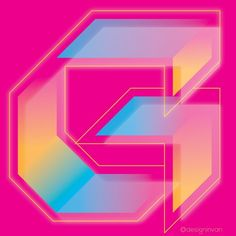 G. Counting back the alphabet. This literally started as a black letter experiment until I added gradients. Never stop at good. ... #80s #neon #typography #graphicdesign #g #experimental #gradient