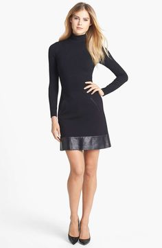 love the tonal leather hem.  Nicole Miller Leather Trim Turtleneck Ponte Knit Dress