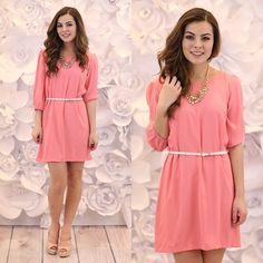 Pink Lemonade Dress You'll look so pretty in this pink shift dress! Belt is included. Model is wearing a size Small. 100% Polyester. Available in size S,M,L. - Sold out at an online boutique for $42! No trades. Price is firm. Dresses Mini