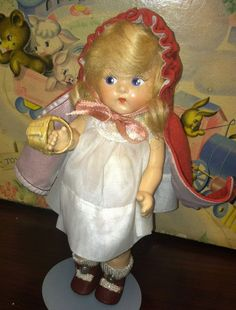 Vintage Early Vogue Ginny Doll Strung  Toddles Composition  ~Red Riding Hood #Dolls