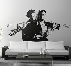Wallsticker of one of the most famous scene in the entire History of the cinema! You can see Leonardo DiCaprio (Jack) and Kate Winslet (Rose) together pretending they are flying like birds.  #LeonardoDicaprio #Kate Winslet #JackandRose #movie #titanic #stickers #scene #cinema #freedom