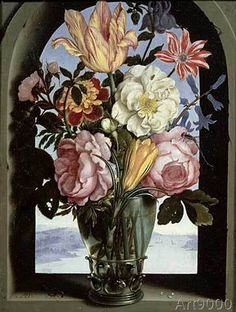 Ambrosius Bosschaert der Ältere - Still life of flowers in a drinking glass