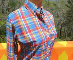 vintage 70's blouse RAINBOW plaid bicycle preppy by skippyhaha, $22.00