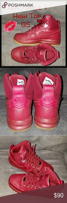 Nike High Top GS Burgundy High Top Nike Air Force 1 with tan bottoms. Like New. Only worn once. 4.5 boys. 6.5 womens Nike Shoes Sneakers