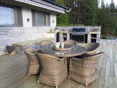 Slik bygger du utekjøkken   Asak Miljøstein Outdoor Furniture Sets, Outdoor Decor, Ottoman, Home Decor, Wall, Patio, Decoration Home, Room Decor, Home Interior Design