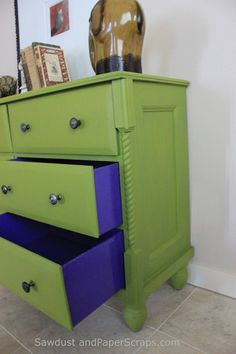 love the diff color paint inside Dresser turned TV console. Especially the colored drawer sides and the top drawers converted into storage shelves. Diy Garden Furniture, Repurposed Furniture, Furniture Projects, Furniture Making, Furniture Makeover, Home Projects, Cool Furniture, Painted Furniture, Furniture Websites