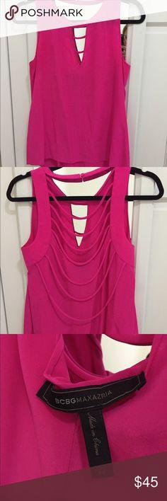 BCBG hot pink blouse size XS BCBG hot pink blouse. Amazing back!! Size XS BCBG Tops Blouses