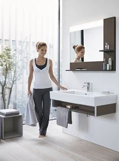 Duravit Vero Basin + Vanity Unit and Mirror with 2 shelves in Dark Brushed Oak