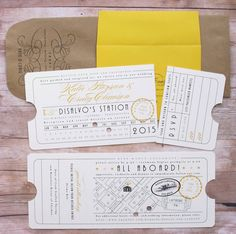 Punch Card Ticket - Train Depot Union Station Railroad Travel Ticket Wedding…
