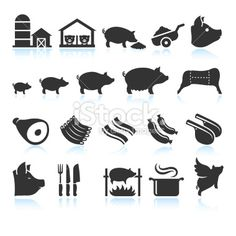 Farm Pig Live Cycle and Food Preparation Set Royalty Free Stock Vector Art Illustration Vector Icons, Vector Art, Grill Time, Pig Farming, Best Bbq, Logo Design Inspiration, Food Preparation, Royalty, Logo Style