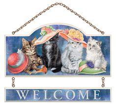 Feline Fancy Welcome Wall Plaque