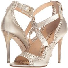 Marchesa Mae (Gold Leather) Women's Shoes (1,400 BAM) ❤ liked on Polyvore featuring shoes, sandals, gold, criss cross strap sandals, leather sandals, leather sole shoes, gold sandals and gold high heel sandals