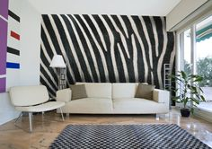 A new take on animal print decor- this photo wall mural is the hide of a live zebra! ;-)