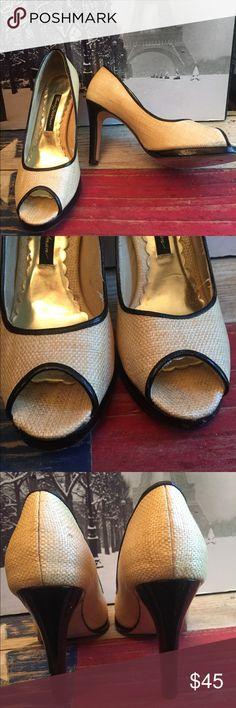 "Beverly Feldman peep toe straw weave pumps 7.5 Beverly Feldman peep toe straw weave pumps 7.5   Color-cream Patent leather detail  4 "" heel  1/2 "" platform Beverly Feldman Shoes Heels"