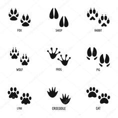 Packa sada ikon. Jednoduchá sada 9 tlapku vektorových ikon pro web izolovaných na bílém pozadí Educational Toys, Icon Set, Simple Style, Wild Animals, Illustration, Cards, Animales, Learning Toys, Illustrations