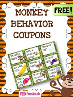 MONKEY Themed Behavior Reward Coupons FREEBIE - Whether you're doing the monkey theme or not, these free behavior coupons will be sure to motivate your students! Behavior Coupons, Classroom Coupons, Behavior Incentives, Reward Coupons, Classroom Behavior Management, Behavior Charts, Class Management, Student Rewards, Classroom Discipline