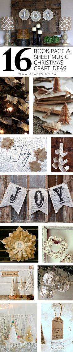 16 Book Page and Sheet Music Christmas Craft Ideas - http://akadesign.ca/16-book-page-and-sheet-music-christmas-craft-ideas/