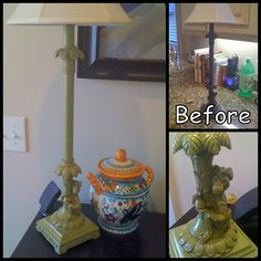 Spray Painted Lamp Makeover