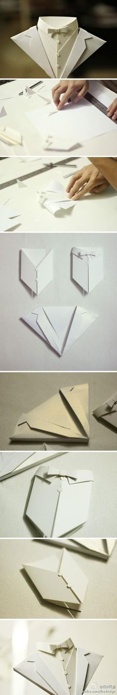 Craft and DIY Ideas 852 Origami card jacket and bow tie black tie white tie and more. Wedding Man Groom 21 18 Party Invite etc Diy Origami, Origami And Kirigami, Origami Paper, Diy Paper, Paper Art, Paper Crafts, Origami Shirt, Papier Diy, Paper Folding