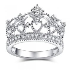 Crown Design White Gold Plated 925 Sterling Silver with Swarovski Elements Women's Ring