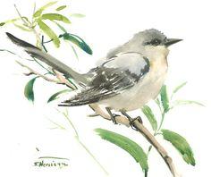 "Mockingbird, original watercolor painting 10"" x 8"", Arkansas and Florida State birds, gray birds, bird lover by ORIGINALONLY on Etsy"