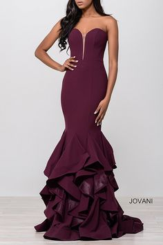 Bordeaux Strapless Trumpet Tiered Dress 31625. Also comes in Navy