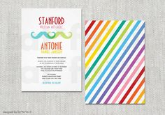 Love the design on back : Gay Wedding Invitation Double Mustache Rainbow by fatfatin on Etsy