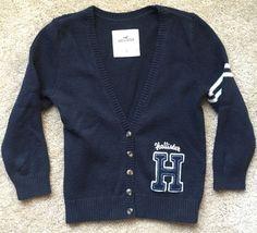 Hollister Women's Navy Blue 3 4 Sleeve Vintage Varsity Cardigan EUC Size Small   eBay