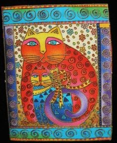 Laurel Burch Cats Fabric Fanciful Felines Bright LG Applique Ready to Iron On Laurel Burch, Scrapbook Cover, Baby Fabric, Cat Quilt, Photo Album Scrapbooking, Zen Art, Cat Colors, Naive Art, Pintura