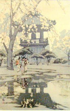 Hiroshi Yoshida (1876-1950) In a Temple Yard Woodblock
