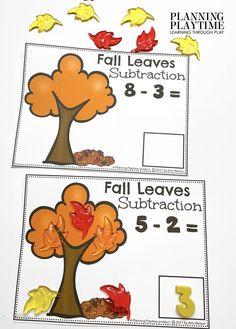 Fall Leaves Subtraction Activity - Kindergarten Morning Tubs Kindergarten Age, Learning Through Play, Tubs, November, Education, Bathtubs, November Born, Soaking Tubs, Onderwijs