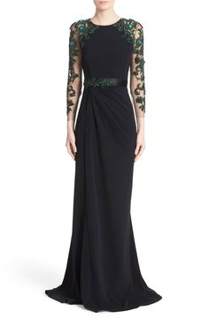 Marchesa Stretch Crepe Gown with Embellished Sleeves and Waist available at #Nordstrom