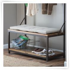 Townsend Hall Tree - The Townsend Hall Tree adds style and functionality to your home decor. This beautiful rack is made with a metal frame, quality wood, and a natural. Hall Tree Bench, Bench Cushions, Seat Pads, Accent Decor, Diy Home Decor, Indoor, Storage, Mudroom, Furniture