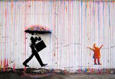 Graffiti Banksy canvas oil Painting Rainbow Rain Man Umbrella wall street Art Urban Custom Stencil Spray by Pepe Banksy Graffiti, Street Art Banksy, Graffiti Kunst, Street Art Utopia, Bansky, Banksy Canvas, Banksy Artwork, Graffiti Wall, Stencil Graffiti