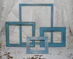 Cottage Chic Frames 4 Pc Set Blue Distressed French Country Home Decor