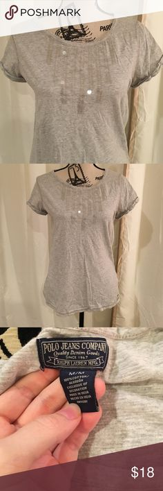 SALE Polo Jeans Company gray sequin shirt Size medium. Looks super cute with any color shorts or pants. All sequins intact. Polo Jeans Company Tops Tees - Short Sleeve