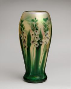 Vase by Louis Comfort Tiffany (American), b. 1848 - d. 1933). Made at Tiffany Furnaces, ca. 1909, Favrile glass, height 16 7/16 in., diameter: 8 in.