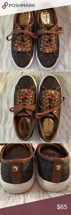 MICHAEL KORS Boerium Laser MK SignatureSneakers 5M MICHAEL KORS Boerium Lasered Brown MK Signature PVC Sneakers. Gold accents. Rubber Sole. Like New Only Worn Once. No box. Size 5M MICHAEL Michael Kors Shoes Sneakers
