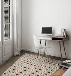 pequeño y acogedor apartamento en blanco de madera y baldosa hidráulica en Barcelona por la interiorista Katty Schiebeck