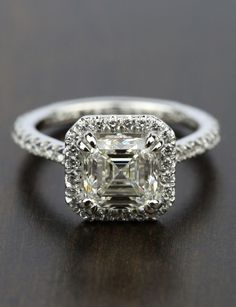 Would you wear this stunning Petite Halo 2.00 Carat Asscher Diamond Engagement Ring?