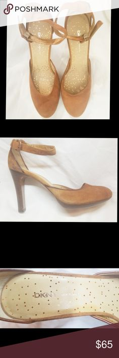 NWT Light Brown Suede Boho DKNY Wood Platforms 8.5 Brown Suede Boho DKNY Donna Karen Platforms 8.5 with Ankle Straps  Stylish beauty's in Carmel Brown Suede!   Size: 8.5 Dkny Shoes Heels