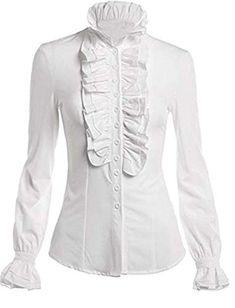 4e367a5c31224d HIMONE Damen Aufstehen Halsband Lotus Rüsche Shirts Bluse (XL Weiß).  Material: Polyester