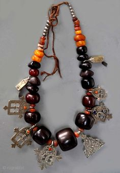 Berber Amber and Bakelite , coral inlaid silver necklace from Morocco