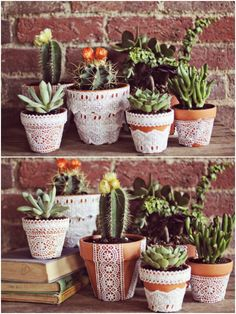 DIY Lace Flower Pots ~ what a cute idea! Why not search for plastic lace-look table cloths to use instead? Search in thrift and dollar stores....Yard sales too!